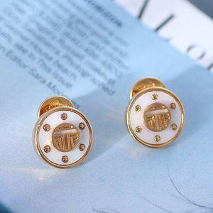 Tory Burch Disc Shell Inlaid Rivet Round Earrings